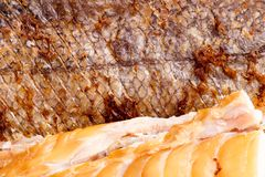 Geräucherte Fisch-Hechtdorsch-Leiste Stockfotos