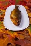 Geräucherte Fische auf einer Platte lizenzfreie stockbilder
