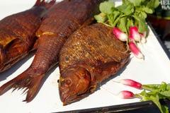 Geräucherte Fische mit jungem Rettich und Petersilie lizenzfreie stockbilder
