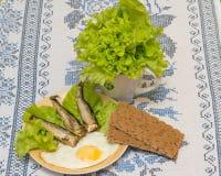 Geräucherte Heringe mit Kopfsalat Lizenzfreies Stockfoto