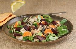 Geräucherte Makrele mit Rote-Bete-Wurzeln und orange Salat lizenzfreie stockfotografie
