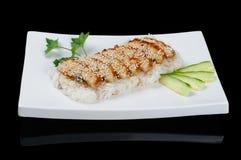 Geräucherter Aal mit Reis Lizenzfreies Stockbild
