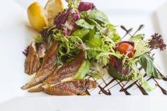 Geräucherter Aal mit Salat Lizenzfreie Stockfotografie
