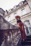 geräusche Abbildung der roten Lilie Schöne Modefrau im Freien auf dem str Lizenzfreie Stockbilder
