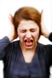 Geräusche und Druckkonzept - Frauenbedeckungohren lizenzfreies stockbild