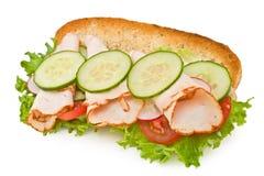 Geröstetes Truthahnbrustsandwich getrennt auf Weiß Stockfoto