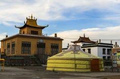 Ger在修道院里在蒙古 库存照片