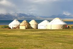 The ger camp in a large meadow at Song kul lake ,  Naryn of Kyrgyzstan Stock Photo