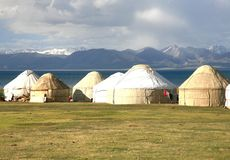 The ger camp in a large meadow at Song kul lake ,  Naryn of Kyrgyzstan Royalty Free Stock Photos