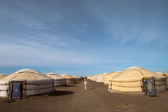 Ger camp Mongolia. Wide angle view of gers in a camp Mongolia Gobi desert Stock Photo