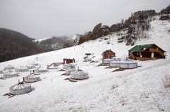 Ger camp - Mongolia. Winter in a ger hillside settlement Stock Photos