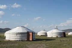 A Ger camp in Gurvanbulag in Mongolian. A Ger camp for the tourists in Gurvanbulag in Mongolian Royalty Free Stock Image