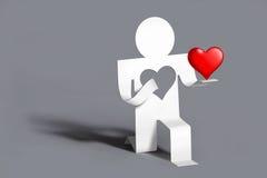 ger hjärta henne den älska mannen Royaltyfri Bild