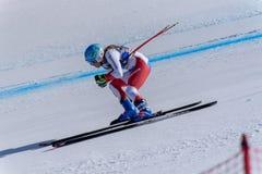 GER Michaela Wenig participa nas senhoras corre para baixo para a raça de Ladie Downhill da mulher do FIS Ski World Cup Finals al imagens de stock