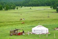 Ger obóz w Gorkhi-Terelj parku narodowym przy Ulaanbaatar, Mongolia zdjęcia royalty free