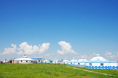 Ger Tent. In a sunny day,a lot of Ger in the hulunbuir prairie wih various cloud Royalty Free Stock Photo