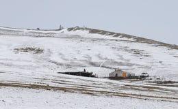Ger-yurt in einer Winterlandschaft von Nord-Mongolei stockfotografie