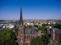 Gera aerial view Johanniskirche town church Stock Images