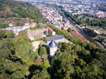 Gera castle osterstein aerial view thuringia medieval Royalty Free Stock Photo