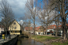 Gera river, Erfurt, Germany Royalty Free Stock Photography