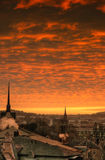 Gera skyline sunset Germany. Scenic view of skyline of city of Gera viewed at sunset, Thuringia, Germany stock photo