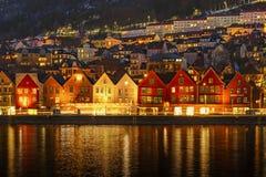 Gerade aufgewachtes Bergen, Norwegen lizenzfreie stockbilder