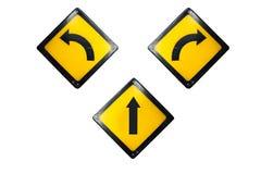 Gerade biegen Sie nach links ab und rechtes Zeichen wird auf weißem backgrou lokalisiert stockfotos