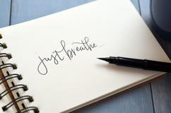 GERADE BREATHE hand-mit Buchstaben gekennzeichnet im Notizblock mit Bürstenstift lizenzfreie stockfotografie