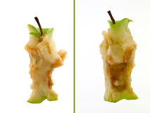Gerade gegessener Apple - 2 Ansichten Stockfotos