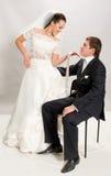 Gerade geheiratet. Stockbild