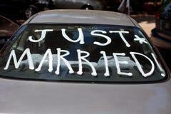 Gerade geheiratet Stockfoto