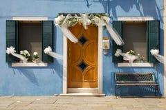 Gerade geheiratet in Buranos-Insel Lizenzfreies Stockbild
