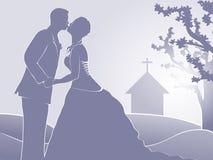 gerade geheiratet an der Kirche Stockbild