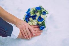Gerade geheiratet im Winter Lizenzfreies Stockfoto