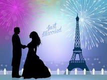 Gerade geheiratet in Paris lizenzfreie abbildung