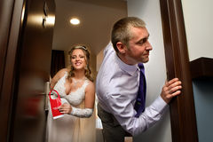 Gerade geheiratet stören Sie nicht Zeichen Lizenzfreies Stockbild