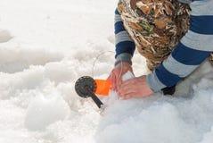 Gerade liegt aufgefangenes zander auf Eis Lizenzfreies Stockfoto