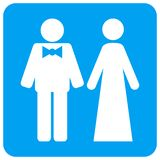 Gerade rundeten verheiratete Personen quadratische Raster-Ikone stock abbildung