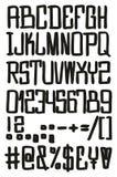 Gerade u. quadratischer freihändiger Vektor-Guss mit Versalienbuchstaben, Zahlen u. Zeichen Stockfoto