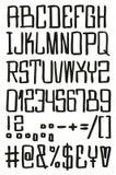 Gerade u. quadratischer freihändiger Vektor-Guss mit Versalienbuchstaben, Zahlen u. Zeichen Stockfotografie