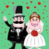 Gerade verheiratete glückliche lustige Paare Stockbilder