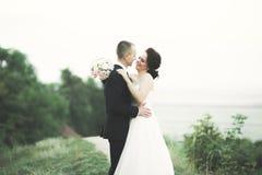 Gerade verheiratete Haltungen und Küssen mit einer alten Festung auf dem Hintergrund stockfotos