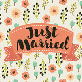 Gerade verheiratete, Hand gezeichnete Beschriftung für Designhochzeitseinladung, Fotoüberlagerungen und speichern die Datumskarte Stockfotografie