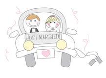 Gerade verheiratete Karikatur Stockfoto