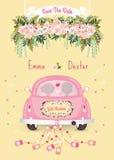 Gerade verheiratetes Auto mit Abwehr die Datumshochzeits-Einladungskarte Stockfoto