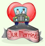 Gerade verheiratetes Paar, das ein Auto antreibt Lizenzfreie Stockfotografie