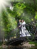 Gerade verheiratetes Paar, das eine Weißtaube freigibt Stockfotografie