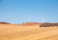 Geradores de energias eólicas, o céu azul e campo amarelo Fotos de Stock Royalty Free