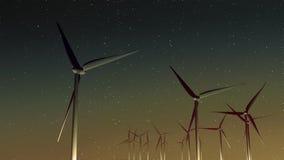 Geradores de vento (por do sol) Fotografia de Stock Royalty Free
