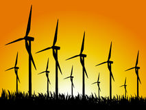 Geradores e por do sol de vento ilustração do vetor